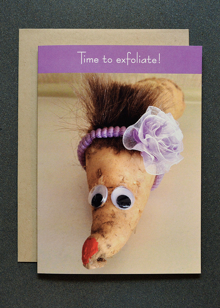 Quirky yam character wearing headband greeting card