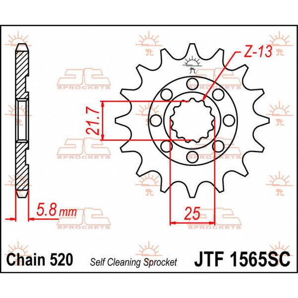 JT SPROCKETS JTF1565.13SC FRONT SELF CLEANING SPROCKET 13 TEETH 520 PITCH NATURAL STEEL - Alhawee Motors