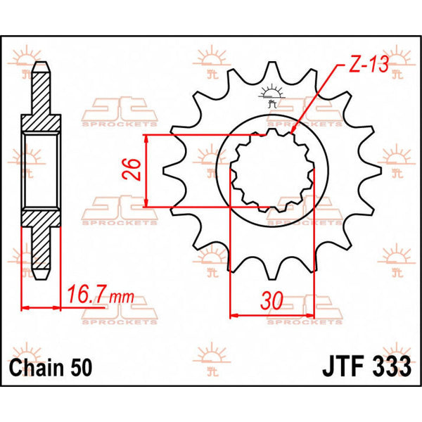 JT SPROCKETSJTF333.16 FRONT REPLACEMENT SPROCKET 16 TEETH 530 PITCH NATURAL STEEL - Alhawee Motors