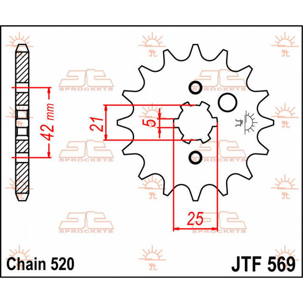 JT SPROCKETS JTF569.13 FRONT REPLACEMENT SPROCKET 13 TEETH 520 PITCH NATURAL STEEL - Alhawee Motors