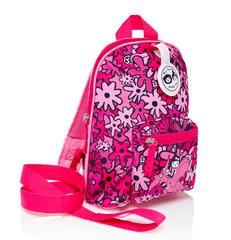 Pink Floral Mini Backpack with Reins