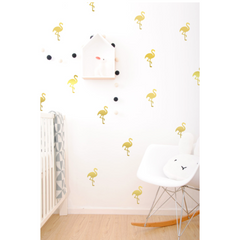 Wall Vinyl Stickers - Gold Flamingos