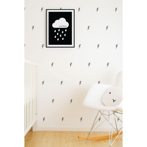 Wall Vinyl Stickers - Grey Lightning Bolts
