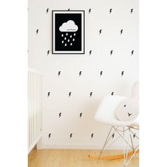 Wall Vinyl Stickers - Black Lightning Bolts