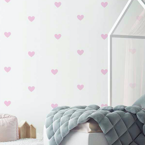 Wall Vinyl Stickers - Pink Hearts