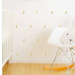 Wall Vinyl Stickers - Gold Lightning Bolts