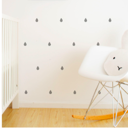 Wall Vinyl Stickers - Grey Raindrops