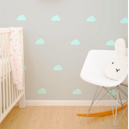 Wall Vinyl Stickers - Pastel Mint Cloud
