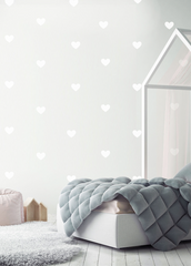 Wall Vinyl Stickers - White Hearts