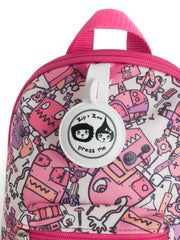 Robot Pink Mini Backpack with Reins