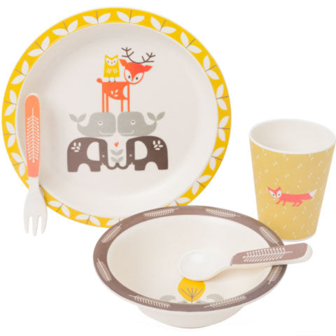 Forest Animals Bamboo Dinner Set