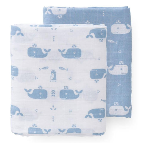 Whale Blue Muslin Set - 2 pack