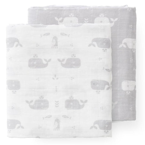 Whale Dawn Grey Muslin Set - 2 pack