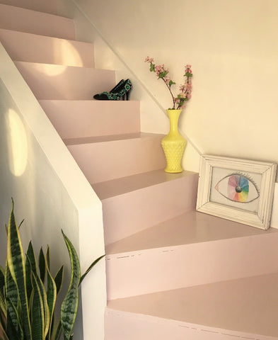 Finished pastel pink painted staircase.