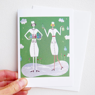 2 cute nurses greetings card
