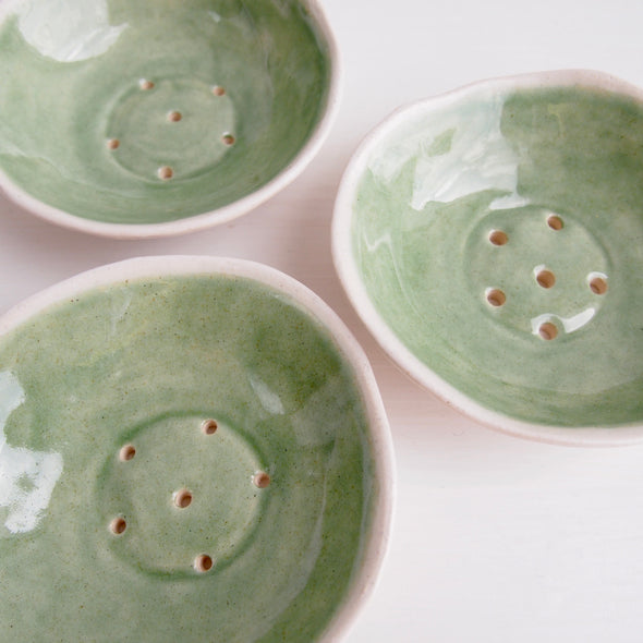 three mini celadon green  pottery soap dish