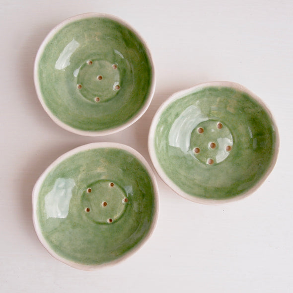 Handmade mini celadon green ceramic soap dish