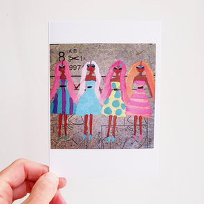 Birthday card 4 girls with long pastel pink hair