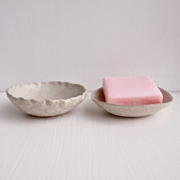 2 with soap Handmade mini round oatmeal pottery soap dish
