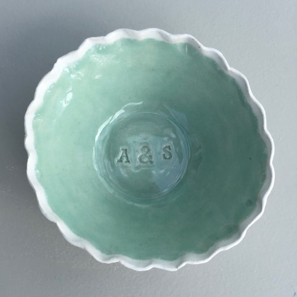 Personalised pottery initials wedding anniversary ring dish