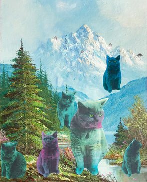 Pastel cats in the mountains Giclee print