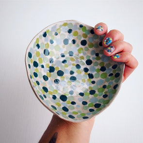Handmade polka dot blue and green ceramic ring bowl