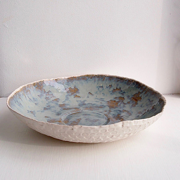 Large satin white textural pottery platter