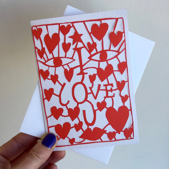 holding i love you card