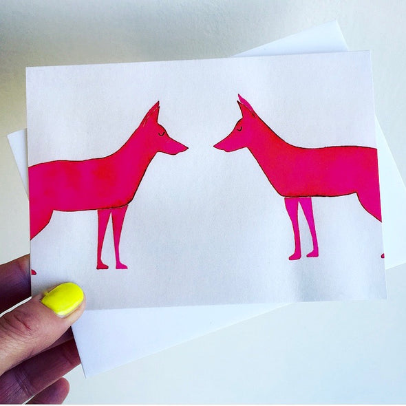 Neon pink pair of foxes card