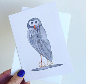 grey owl birthday card