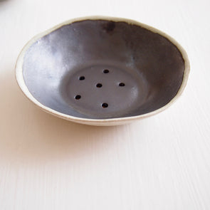 mini black pottery soap dish