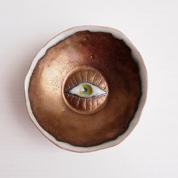 Handmade gold ceramic eye ring dish with coloured eye