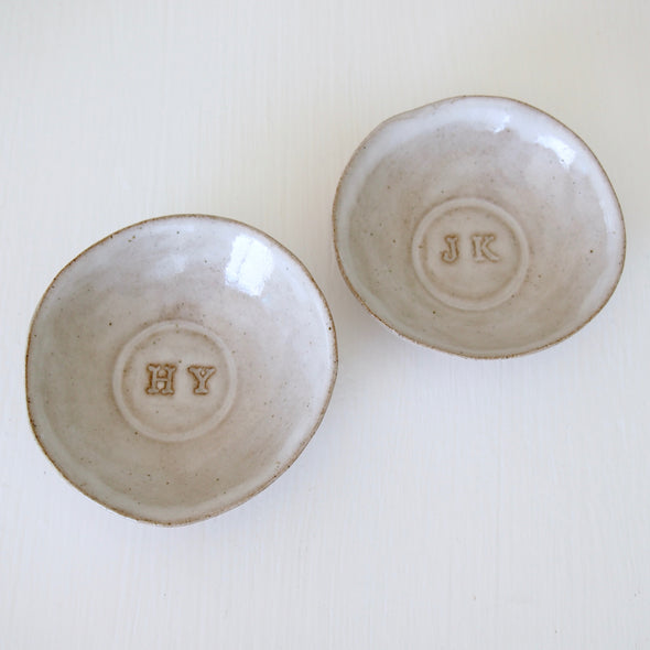 Personalised ceramic wedding initials  ring dish