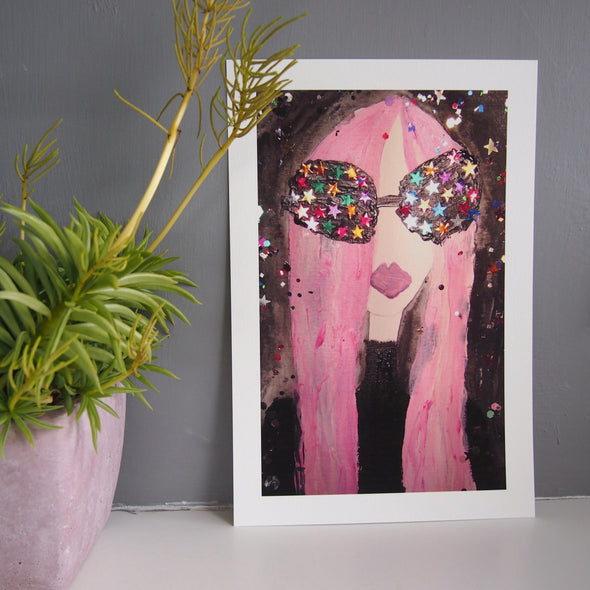 Starry eyes pink hair giclee print