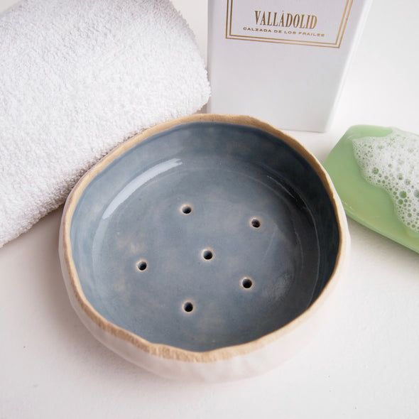 Handmade large powder blue ceramic soap dish