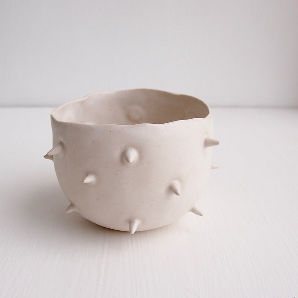 Handmade ceramic white spiky planter bowl