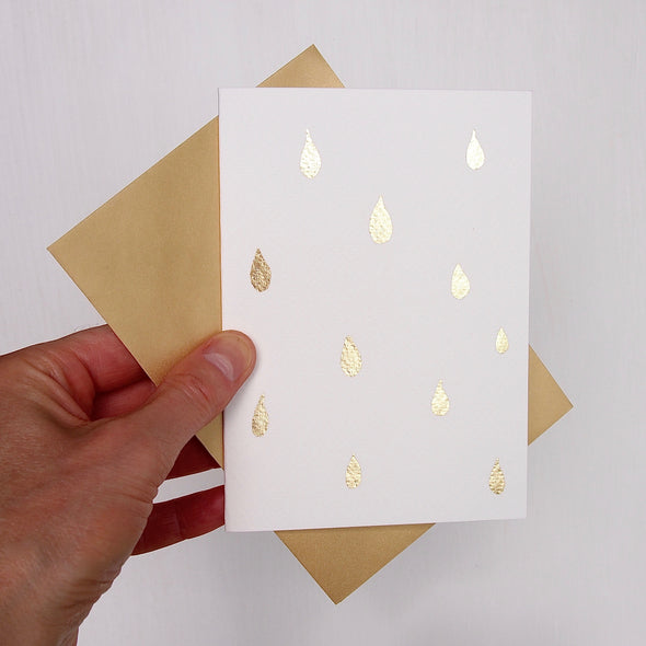 Handmade gold leaf baby shower raindrop card
