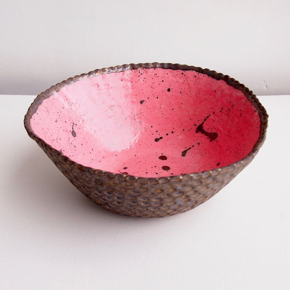 Handmade pink and gold Galaxy ceramic fruit bowl
