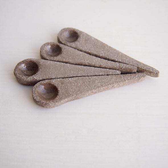 Handmade mini grey ceramic salt or spice spoon
