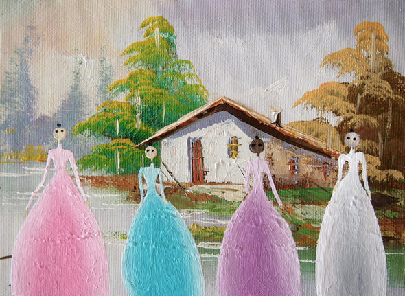 Ghost girls in pastel gowns giclee print