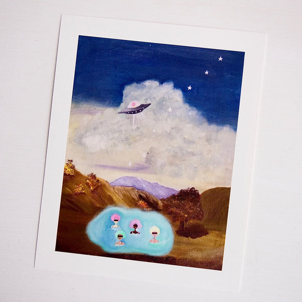 Space ship and girls in floating pool giclee print