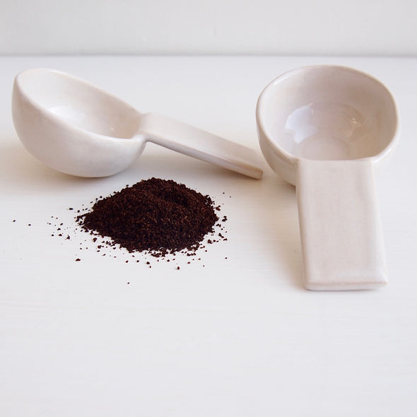 Handmade white gloss pottery coffee scoop