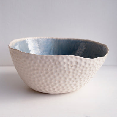 Handmade large powder blue and white ceramic fruit bowl