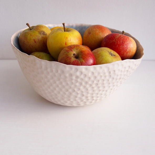 Handmade large ceramic fruit bowl in choice of inner colours