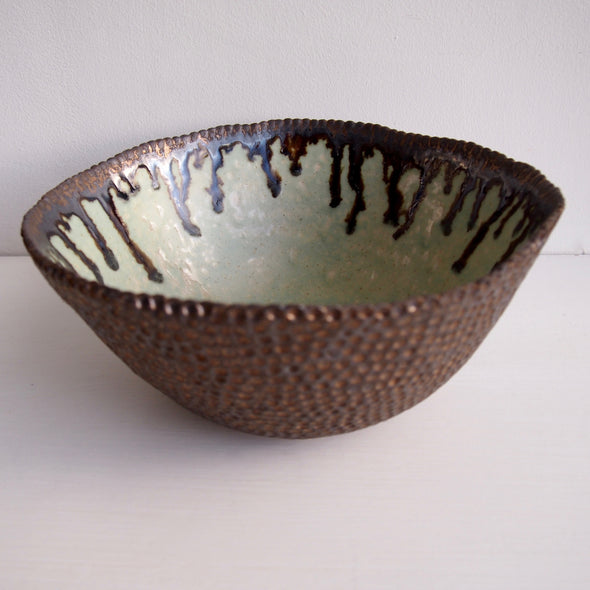 Handmade large turquoise and gold ceramic fruit bowl