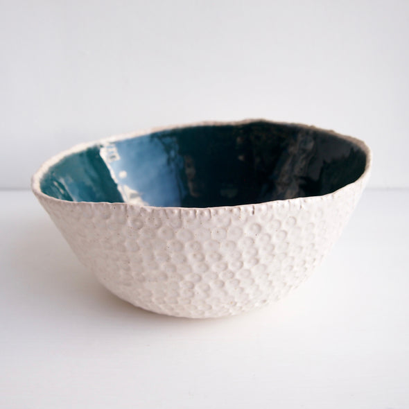 Handmade teal green and speckled white textural ceramic fruit bowl