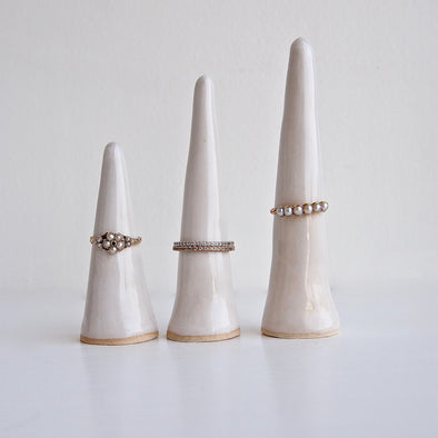 White gloss handmade ceramic ring cones