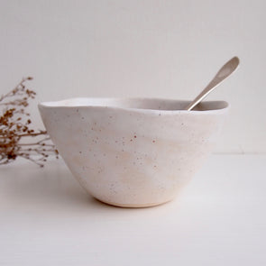 Handmade white speckled pottery cereal bowl