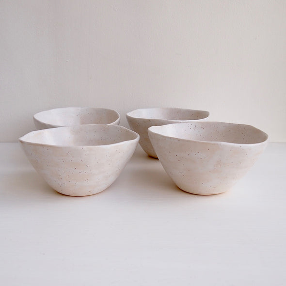 Handmade white satin speckled pottery cereal bowl