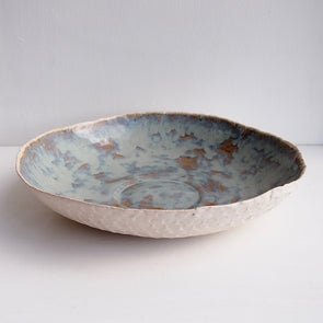 Large ceramic flat blue/brown textural fruit bowl